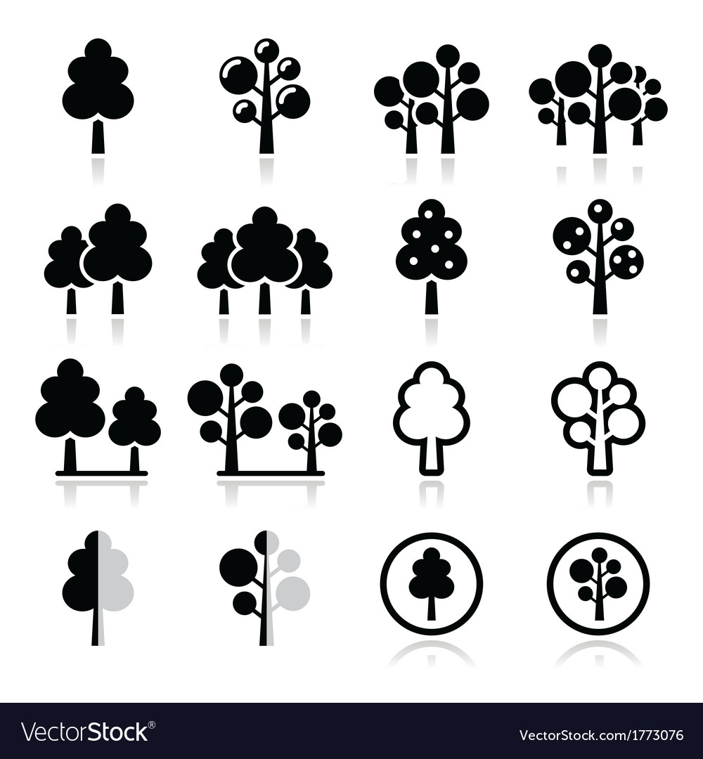 Trees forest park icons set vector | Price: 1 Credit (USD $1)