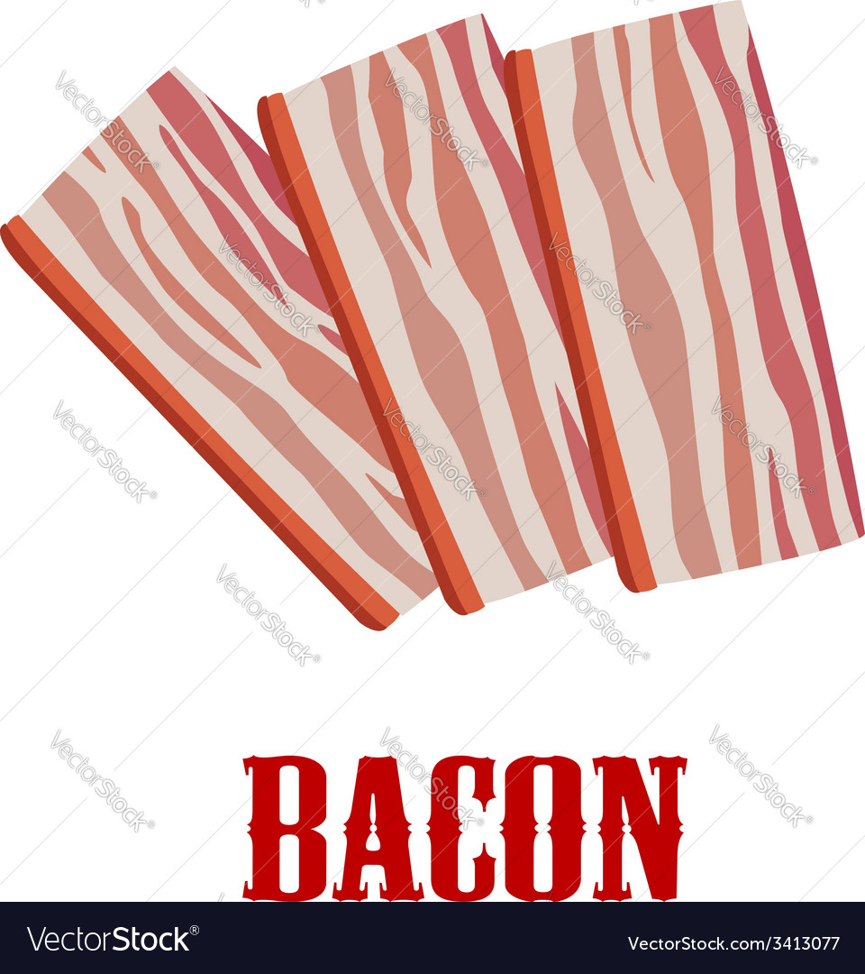 Cartoon bacon isolated on white vector | Price: 1 Credit (USD $1)