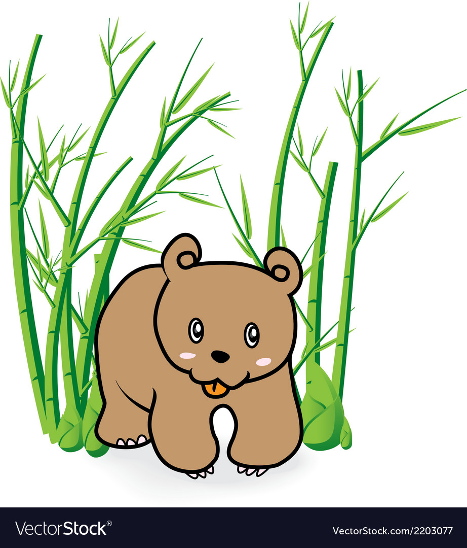 Cute bear in bamboo forrest 04 vector | Price: 1 Credit (USD $1)