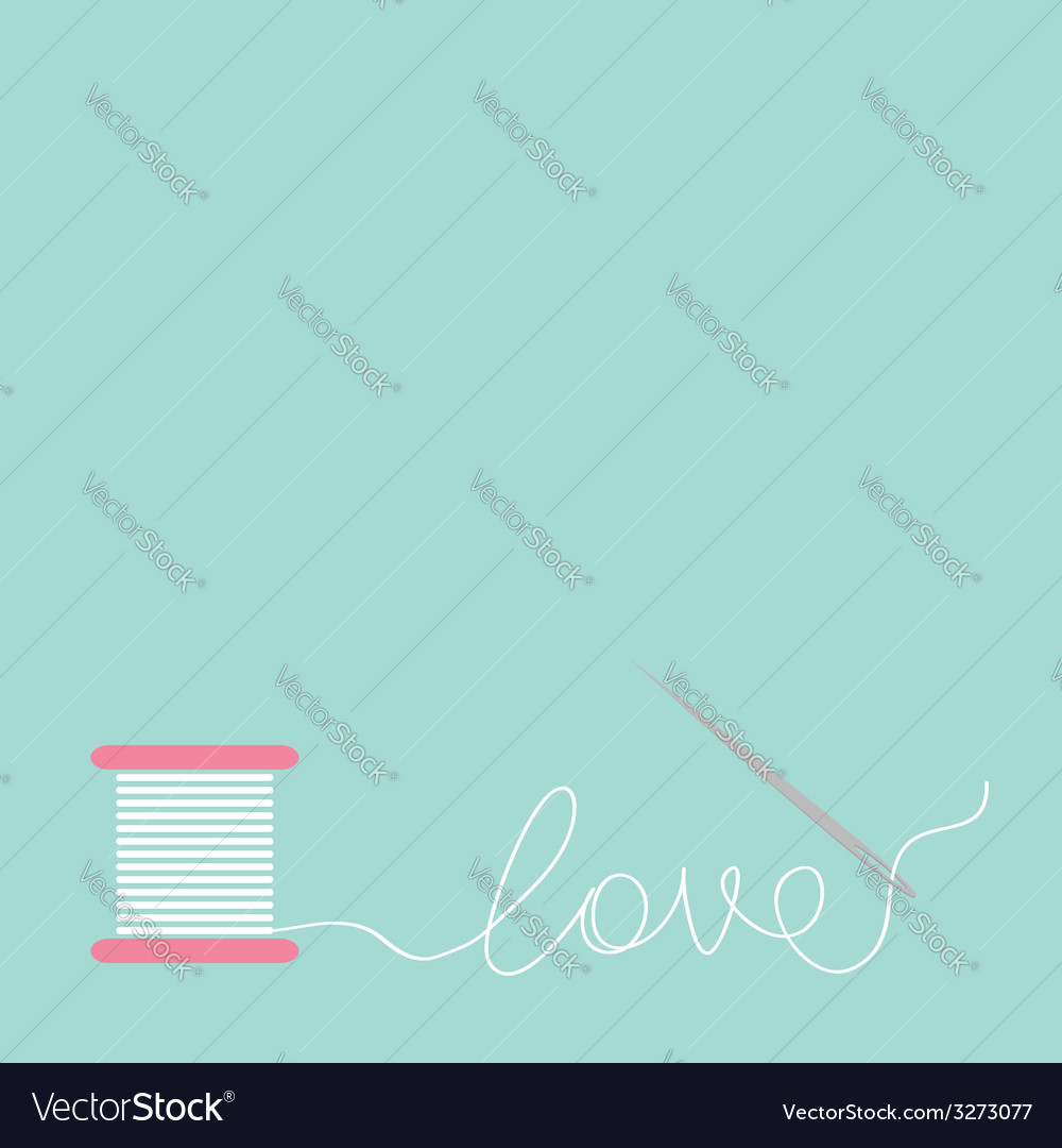 Needle and spool thread in shape of word love flat vector | Price: 1 Credit (USD $1)