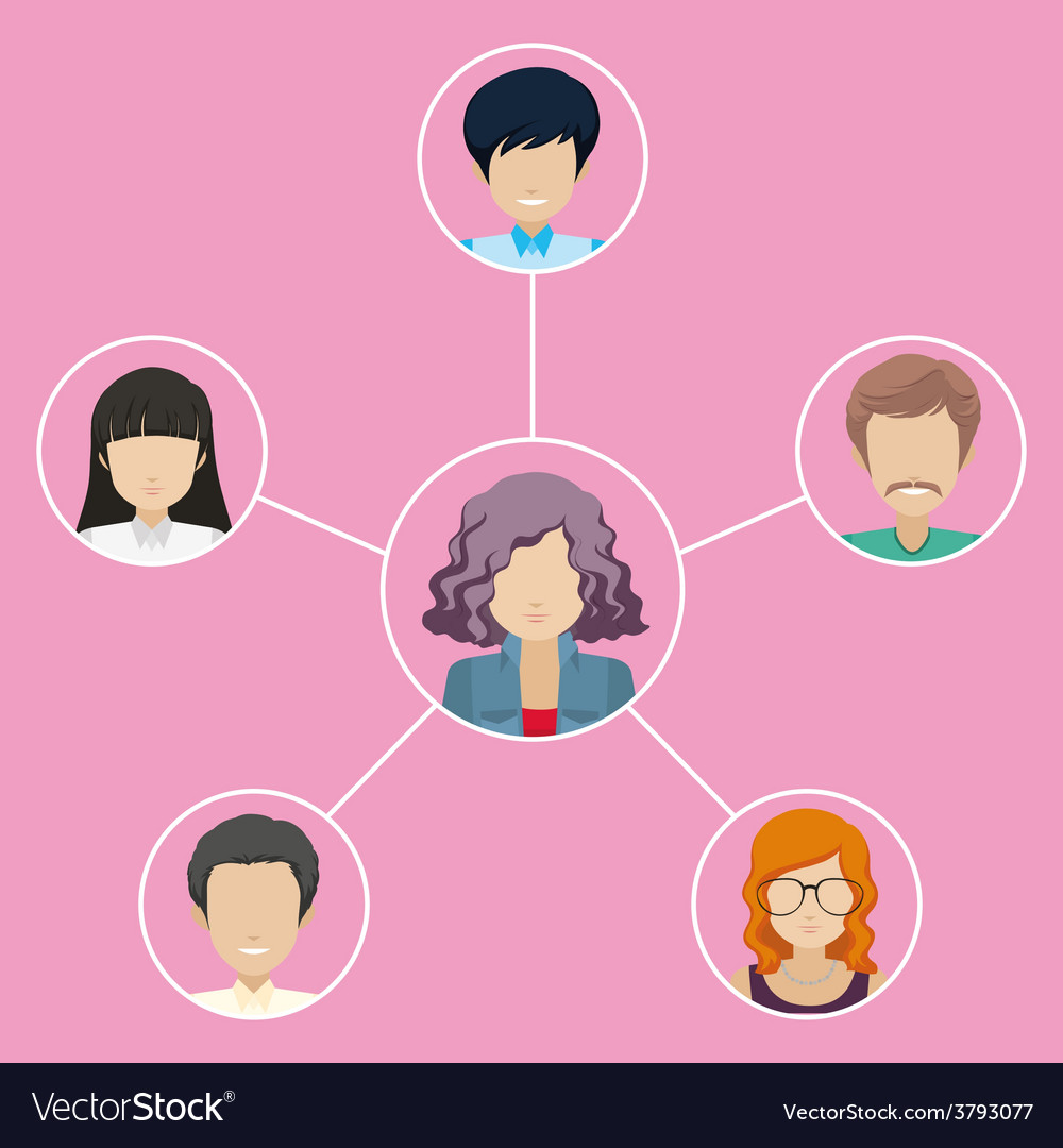 Network of different individuals vector | Price: 1 Credit (USD $1)