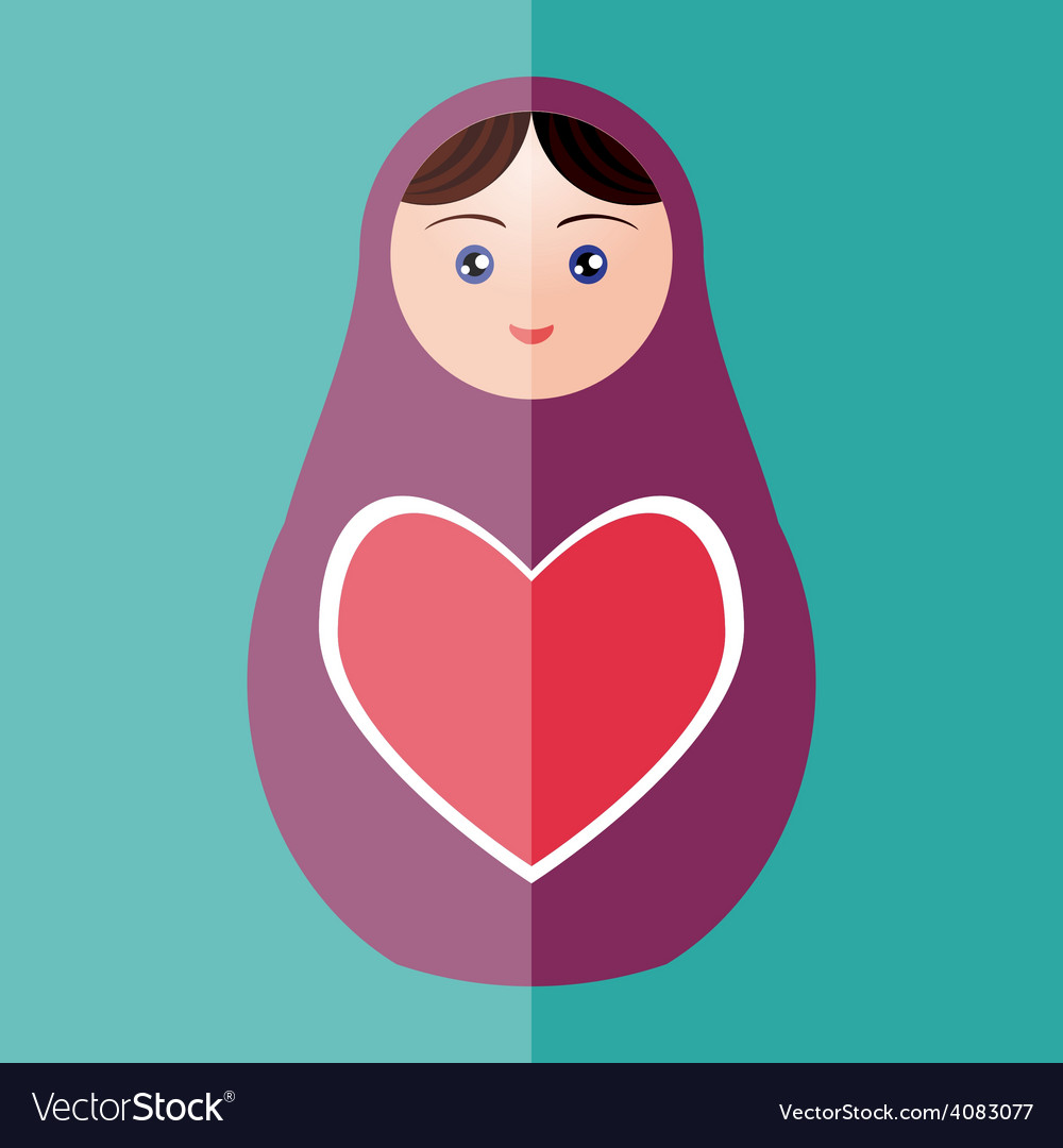 Russian doll matryoshka with heart on teal vector | Price: 1 Credit (USD $1)