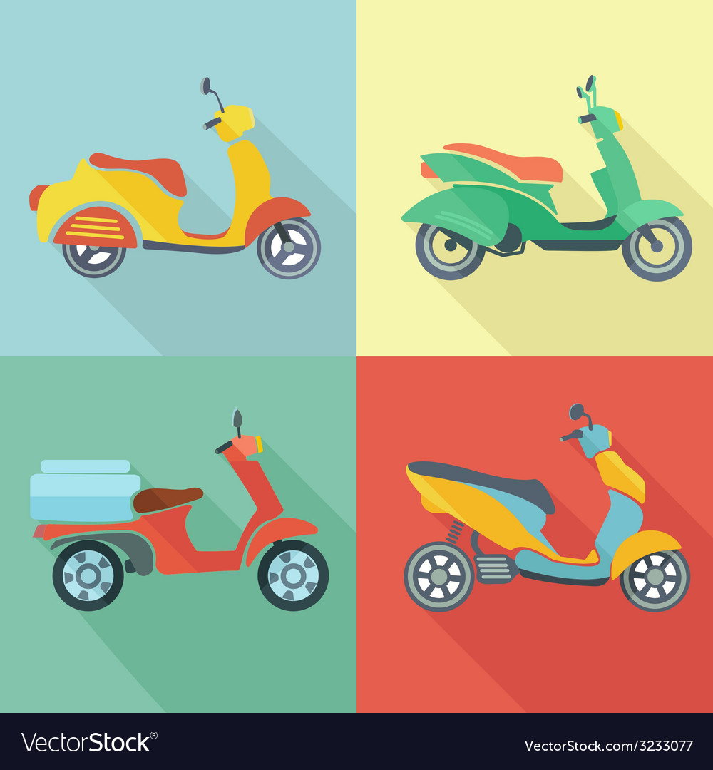 Scooter icon flat set vector | Price: 1 Credit (USD $1)
