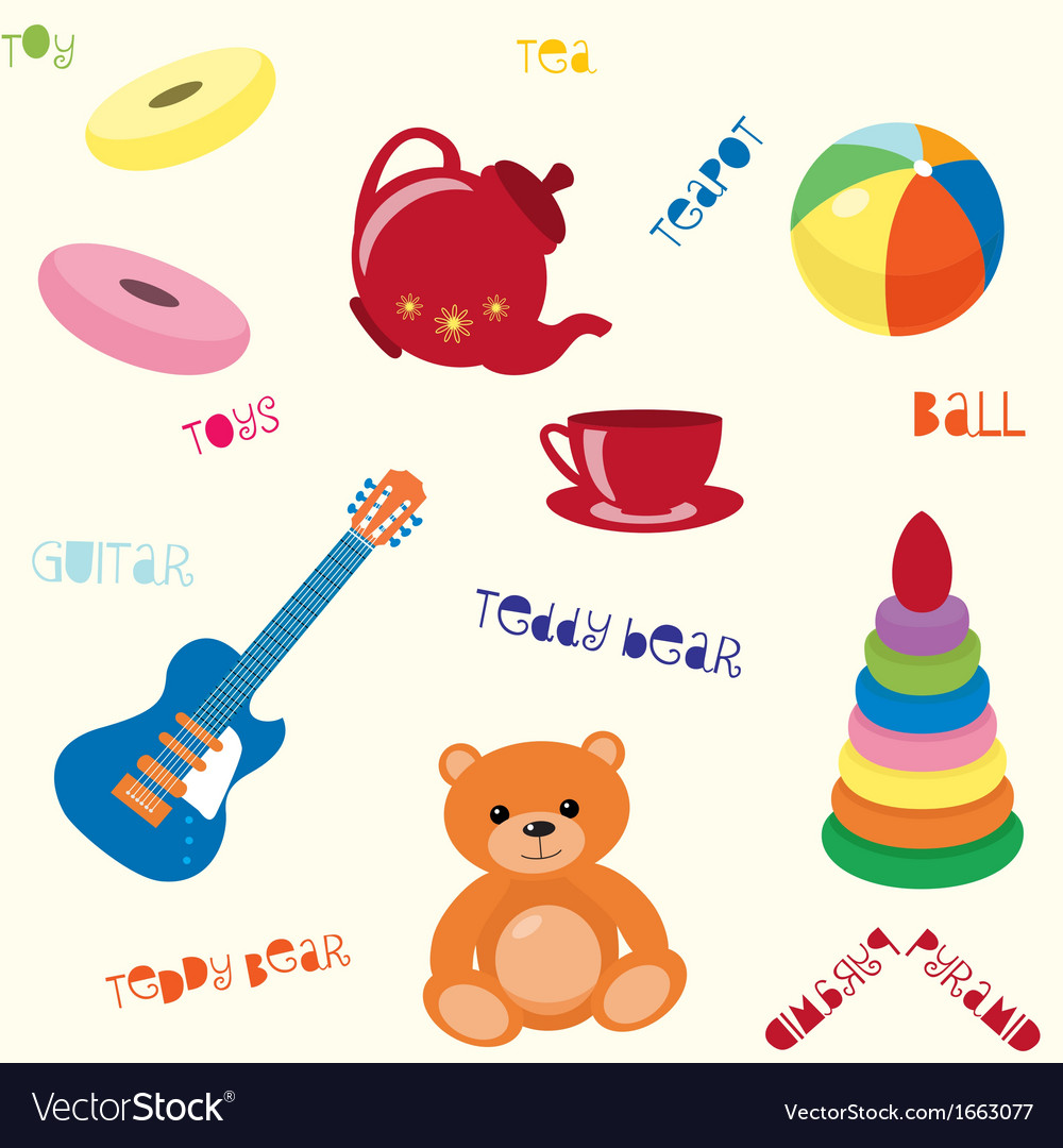 Seamless pattern with toys vector