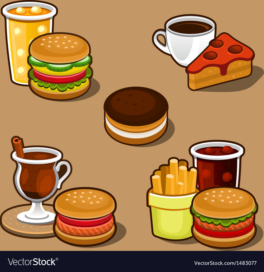 Set of colorful cartoon fast food and cake vector | Price: 1 Credit (USD $1)