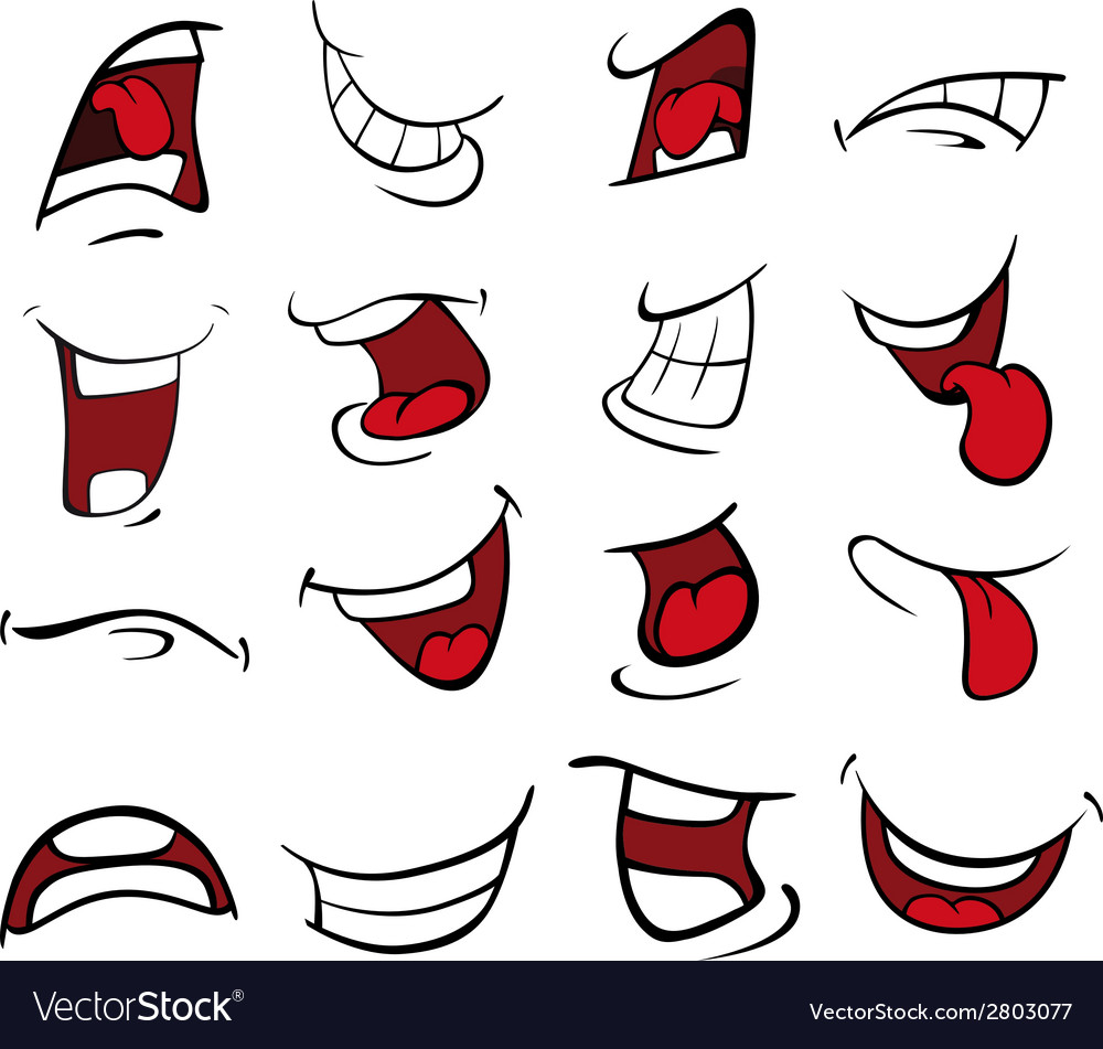 Set of mouths cartoon vector | Price: 1 Credit (USD $1)