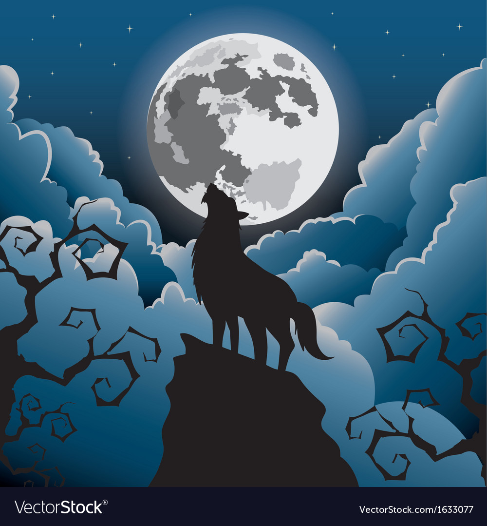 Silhouette wolf howling at the moon vector | Price: 1 Credit (USD $1)