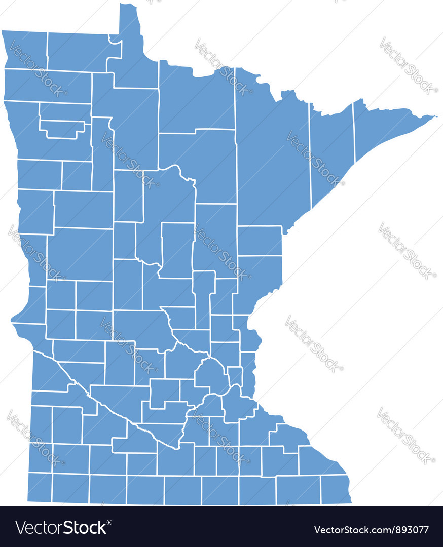 State map of minnesota by counties vector | Price: 1 Credit (USD $1)