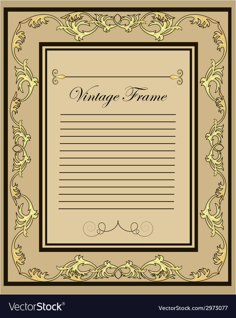 Vintage frame gold ornament vector | Price: 1 Credit (USD $1)