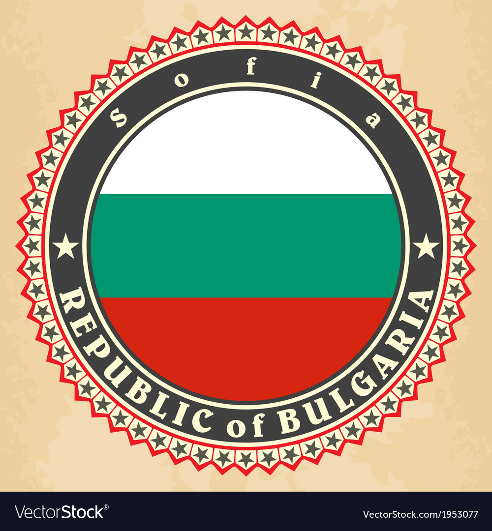 Vintage label cards of bulgaria flag vector | Price: 1 Credit (USD $1)