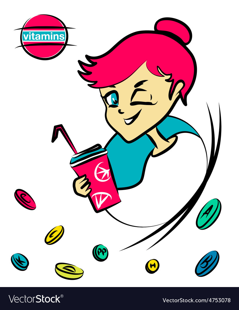 Cartoon nice girl with vitamin cocktail vector   Price: 1 Credit (USD $1)