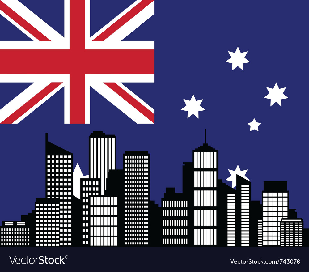 City and flag of australia vector | Price: 1 Credit (USD $1)