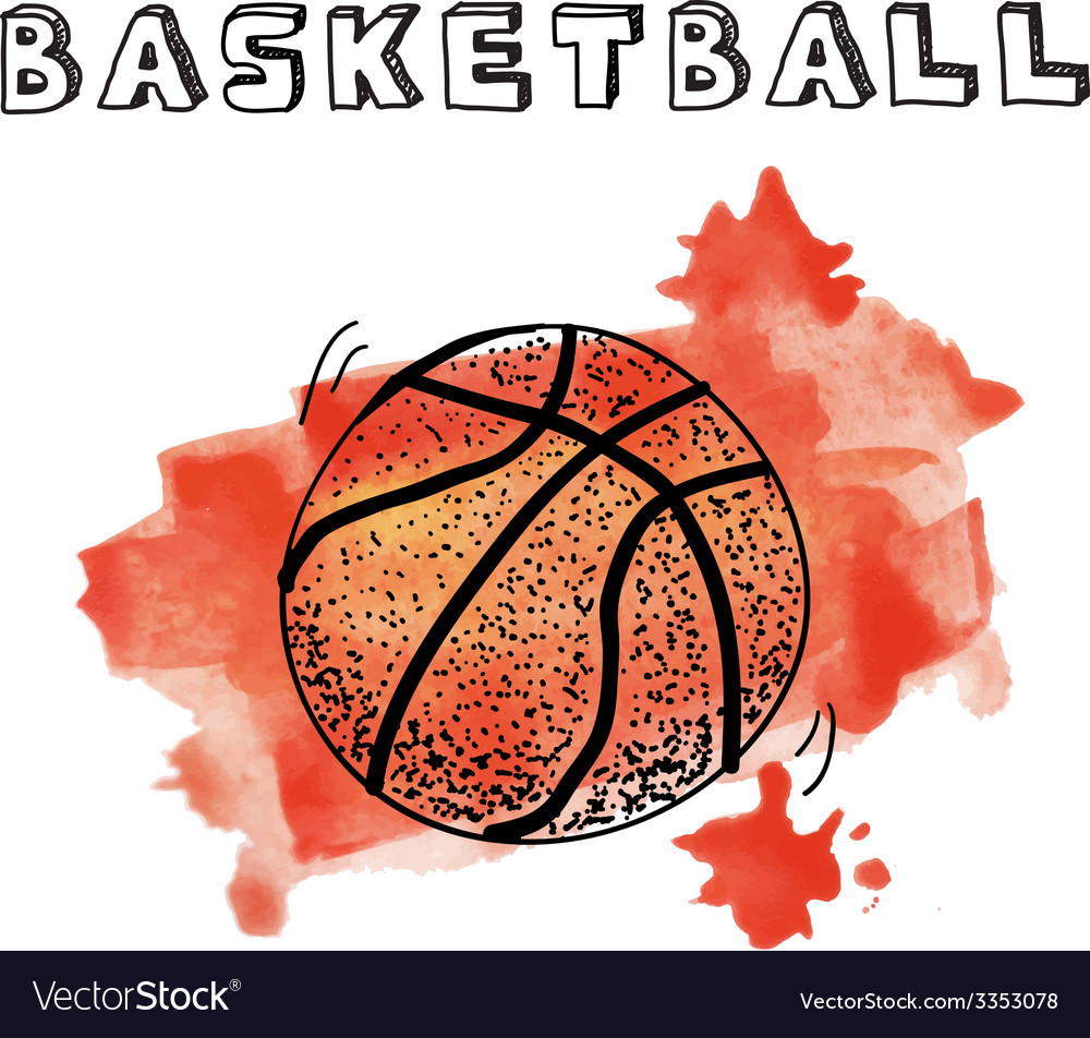Doodle basketball on watercolor background vector   Price: 1 Credit (USD $1)