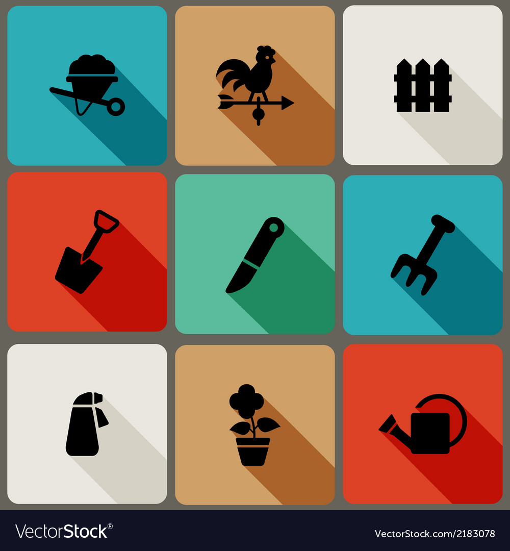 Flat icons set with long shadows vector | Price: 1 Credit (USD $1)