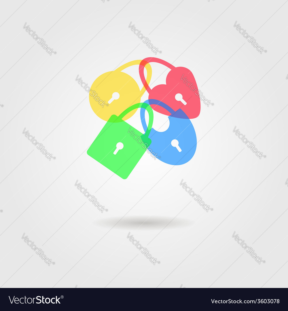 Icon of transparent padlocks with shadow vector | Price: 1 Credit (USD $1)