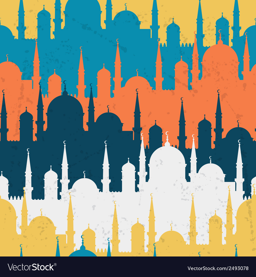 Islamic seamless pattern with mosques in flat vector | Price: 1 Credit (USD $1)
