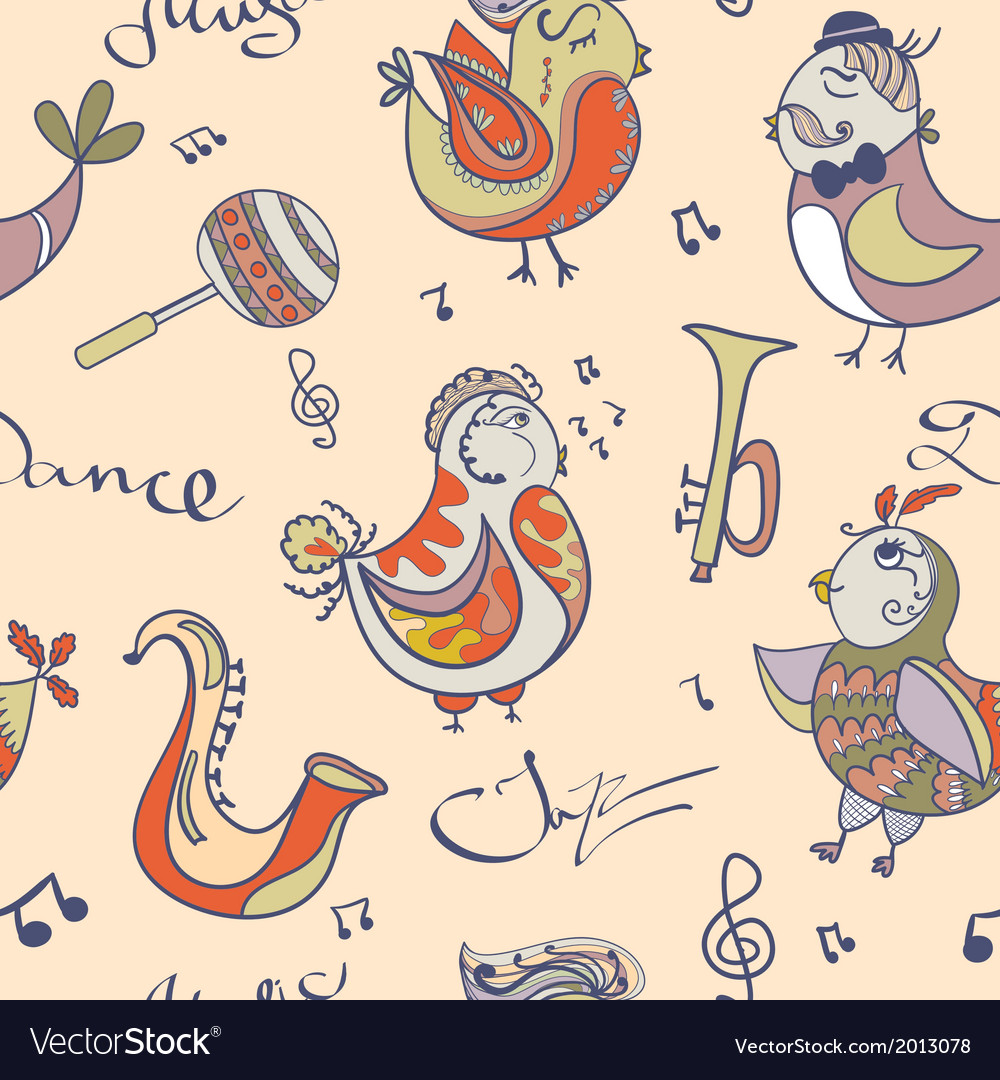 Jazz concept wallpaper birds sing and dancing vector | Price: 1 Credit (USD $1)