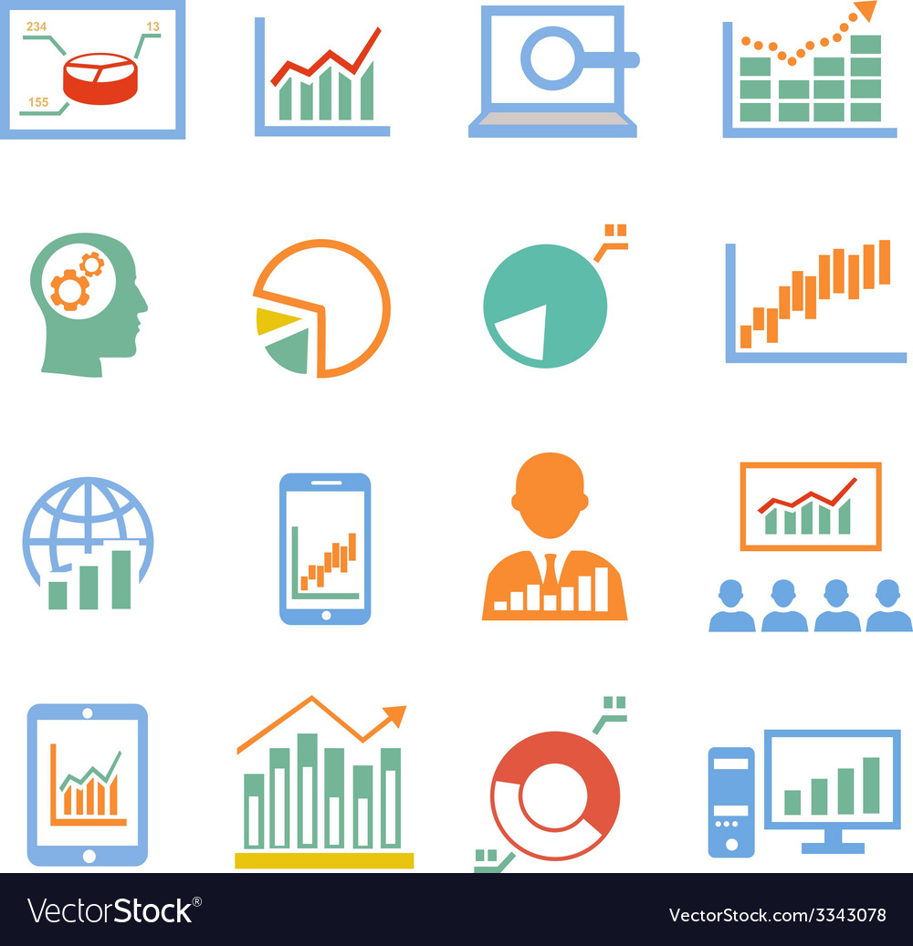 Market analysis diagrams icons vector | Price: 1 Credit (USD $1)