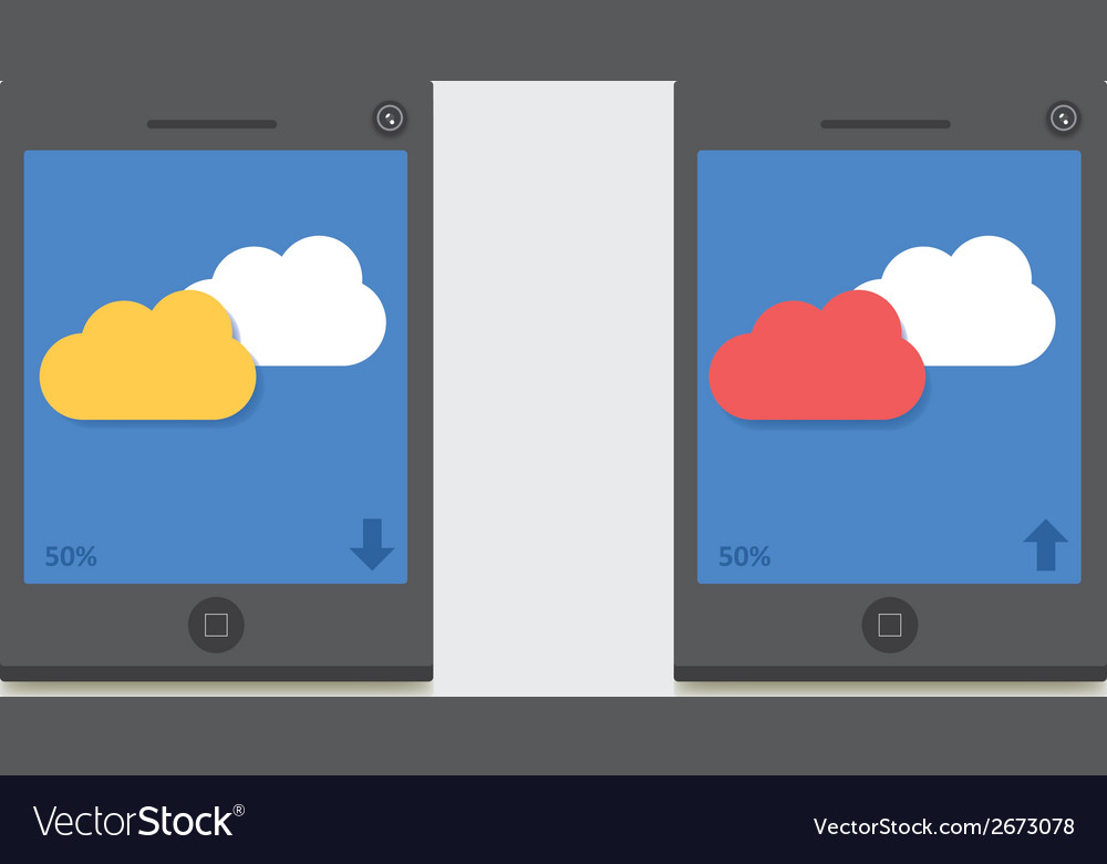 Mobile cloud download upload vector | Price: 1 Credit (USD $1)