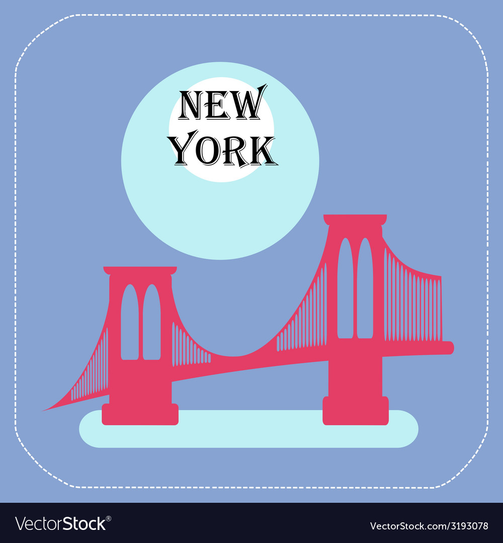 New york city manhattan bridge icon flat vector | Price: 1 Credit (USD $1)