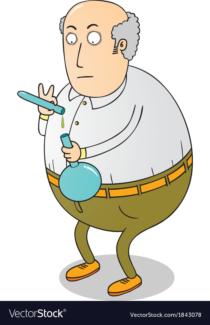 Old fat scientist vector | Price: 1 Credit (USD $1)