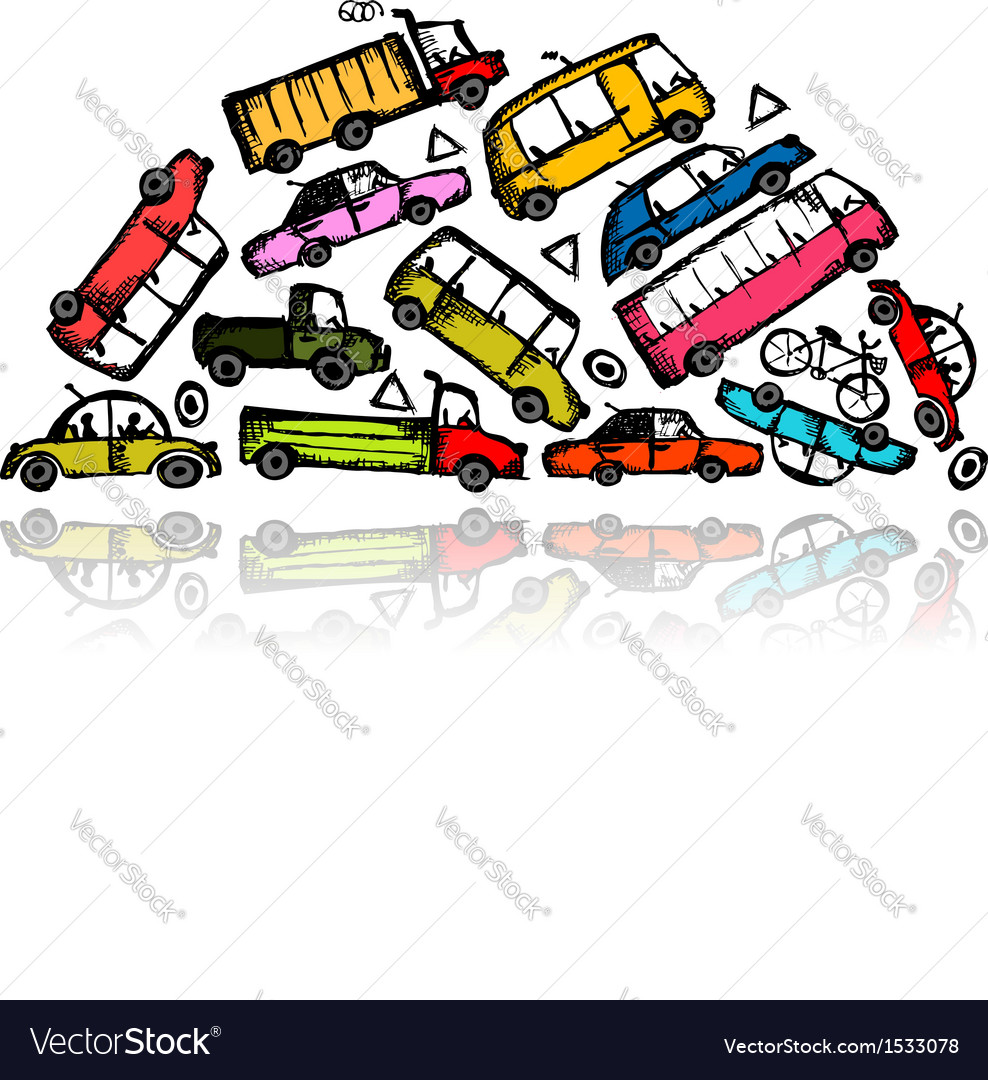 Pile of different cars vector | Price: 1 Credit (USD $1)
