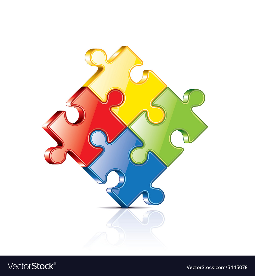 Puzzles isolated vector | Price: 1 Credit (USD $1)