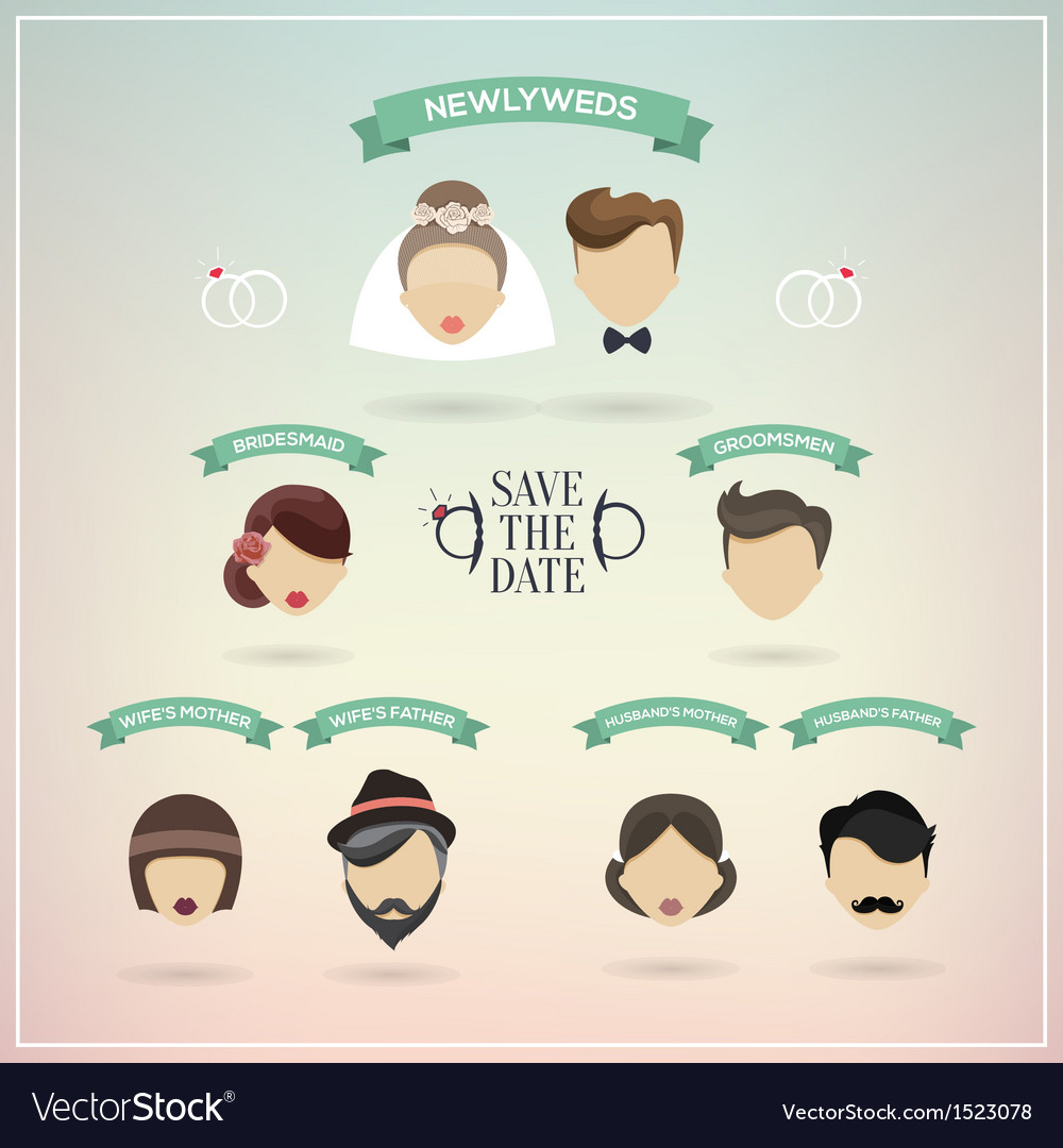 Retro set of wedding icons vector | Price: 1 Credit (USD $1)