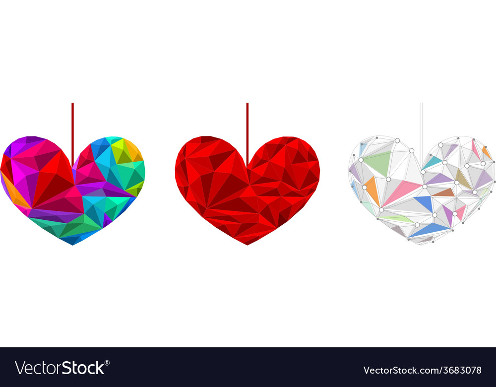 Set poly hearts vector | Price: 1 Credit (USD $1)