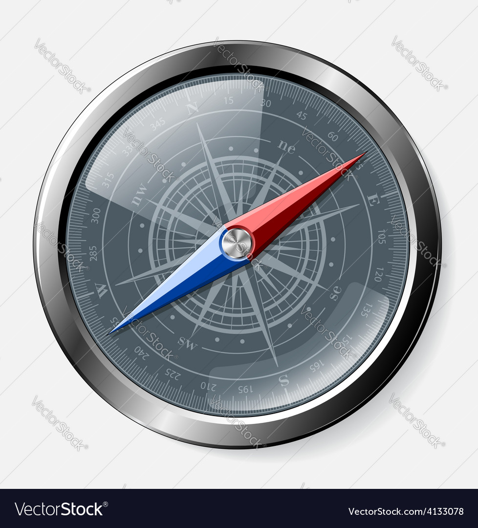Steel detailed compass over grey background vector | Price: 1 Credit (USD $1)