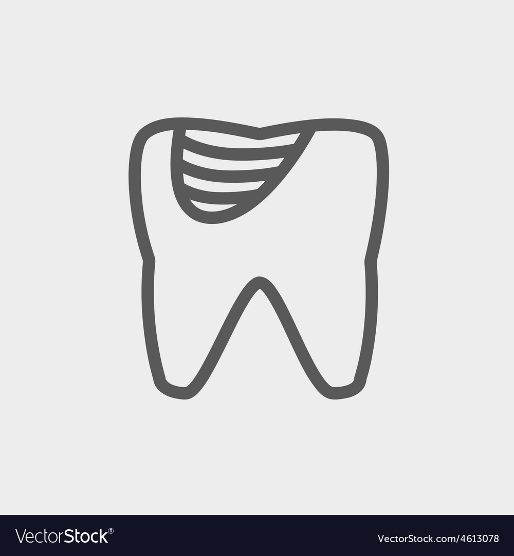 Tooth decay thin line icon vector | Price: 1 Credit (USD $1)