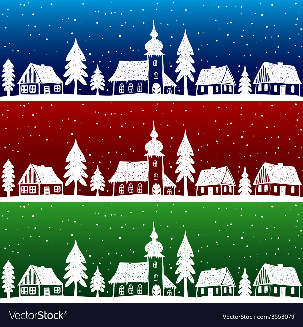 Christmas village with church seamless pattern vector   Price: 1 Credit (USD $1)