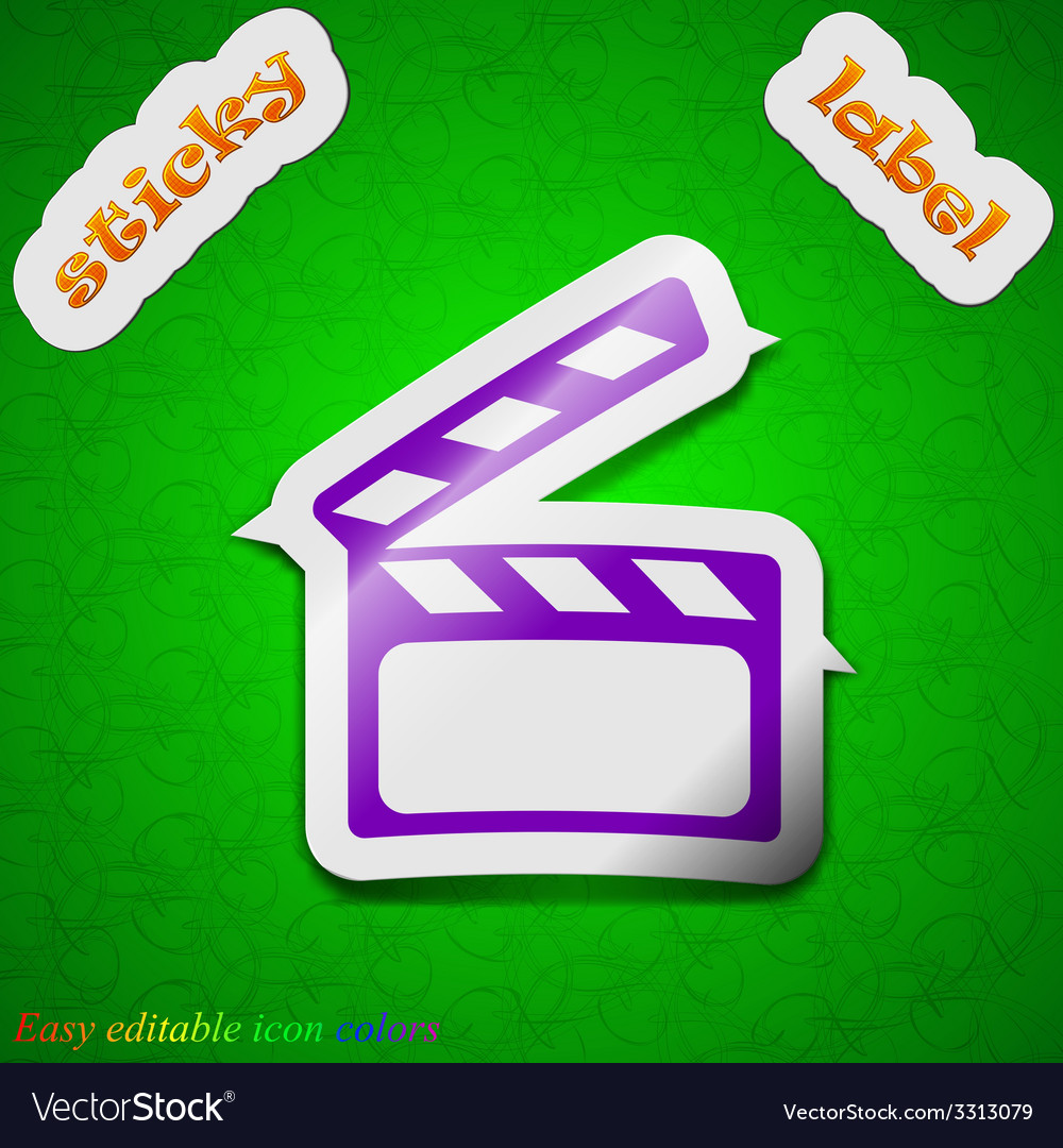 Cinema clapper icon sign symbol chic colored vector | Price: 1 Credit (USD $1)