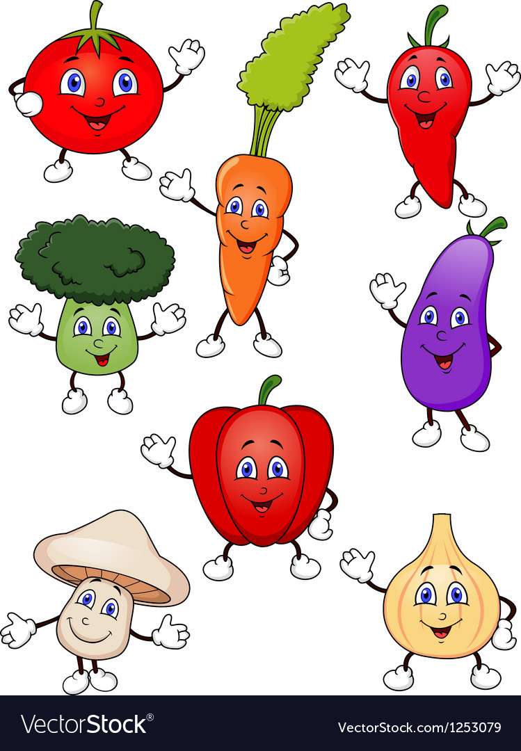 Cute cartoon vegetable collection vector | Price: 1 Credit (USD $1)