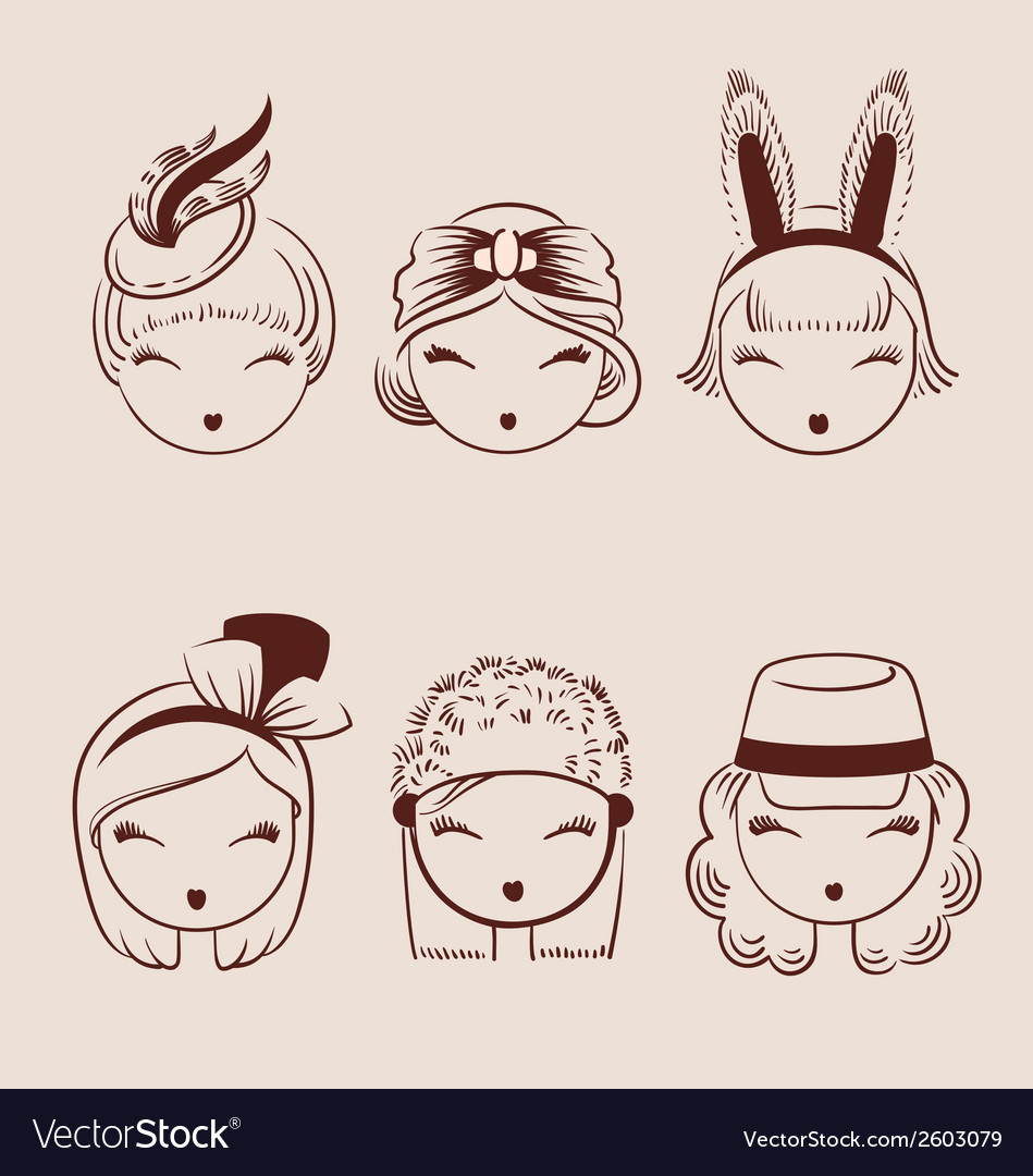 Fashion girls in head accessories icon set hand vector | Price: 1 Credit (USD $1)