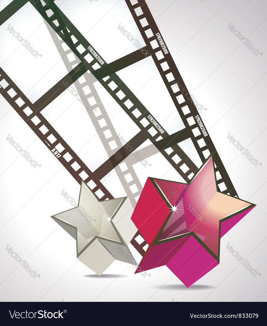 Film strip with 3d glass stars vector | Price: 1 Credit (USD $1)