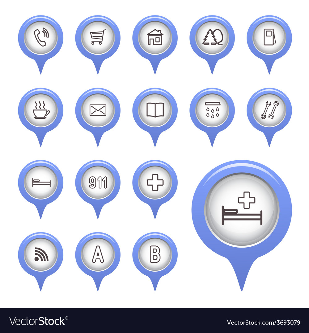 Icons on the map arrow vector | Price: 1 Credit (USD $1)