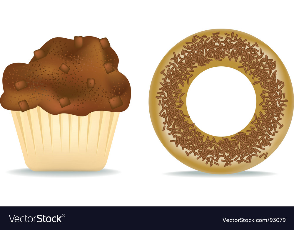 Muffin and donut vector | Price: 1 Credit (USD $1)