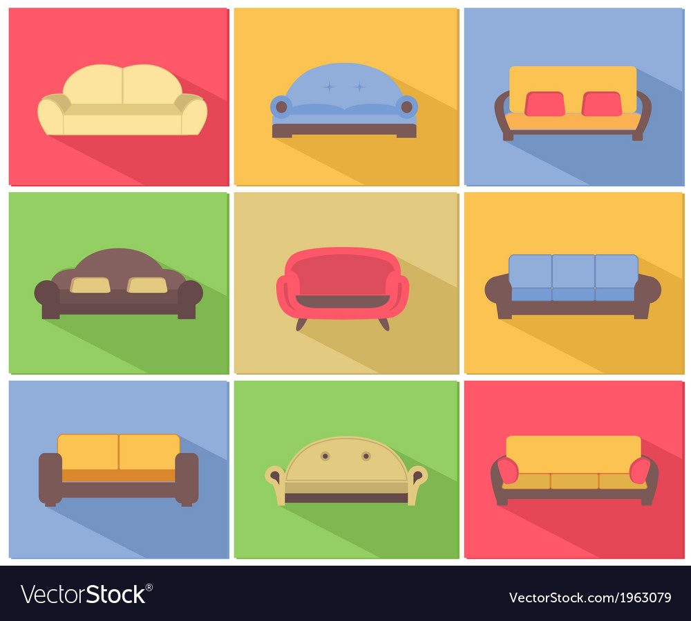 Sofas and couches icons set vector | Price: 1 Credit (USD $1)