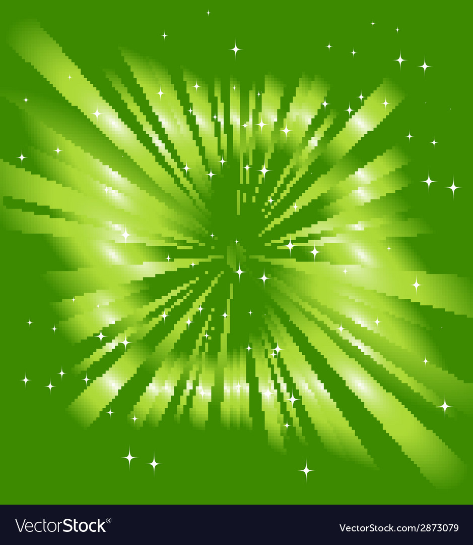 Sparkling stars on green ray background vector | Price: 1 Credit (USD $1)