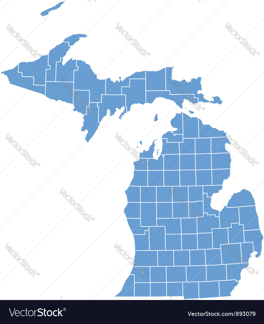 State map of michigan by counties vector | Price: 1 Credit (USD $1)