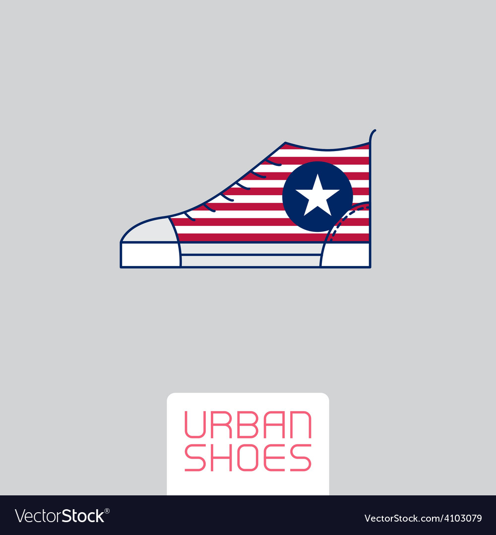 Stylized sneakers with american flag colors and vector | Price: 1 Credit (USD $1)