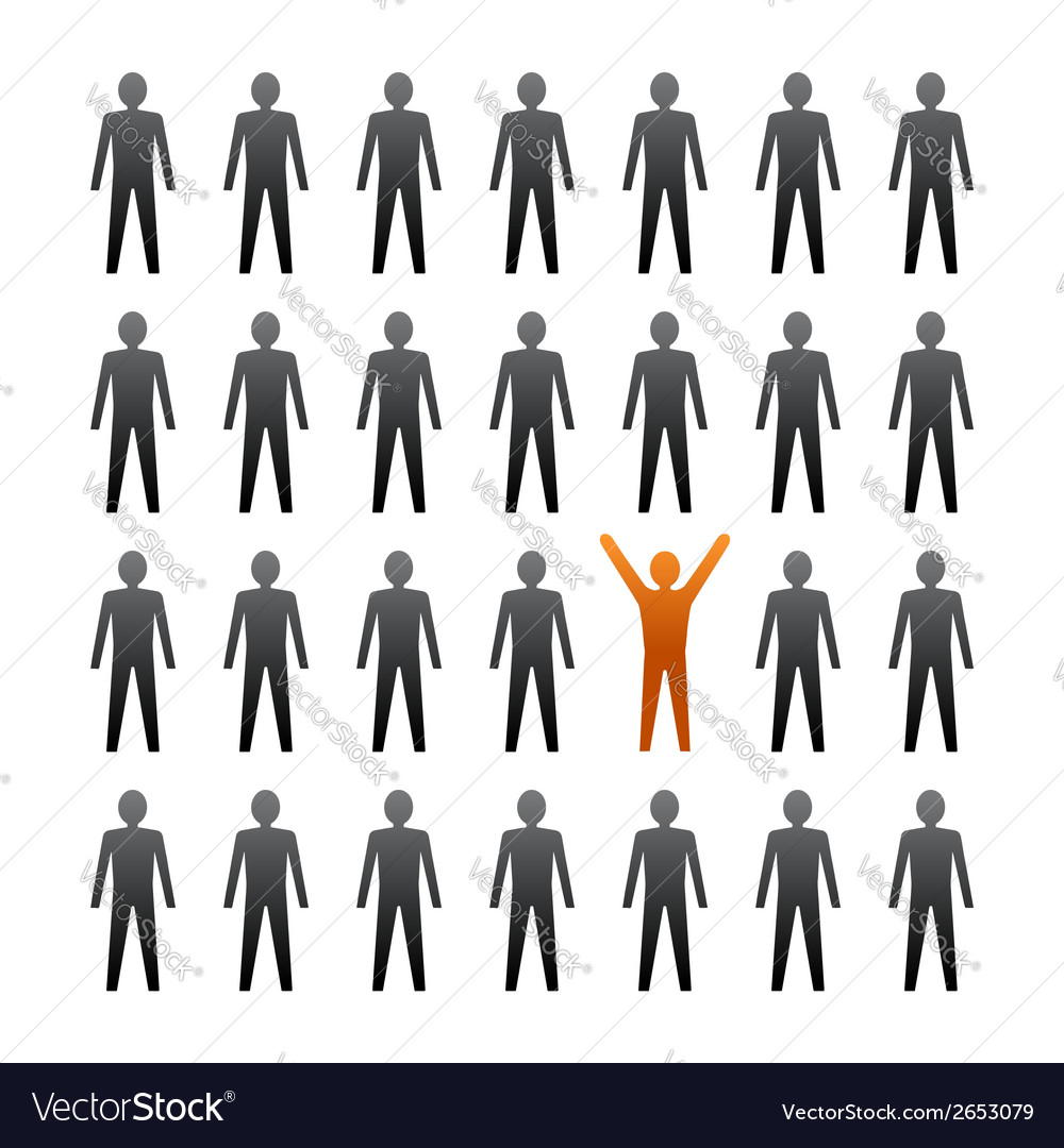 Unique person in the crowd vector | Price: 1 Credit (USD $1)