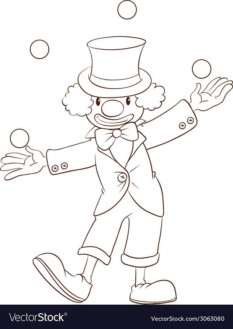 A plain sketch of a clown vector | Price: 1 Credit (USD $1)