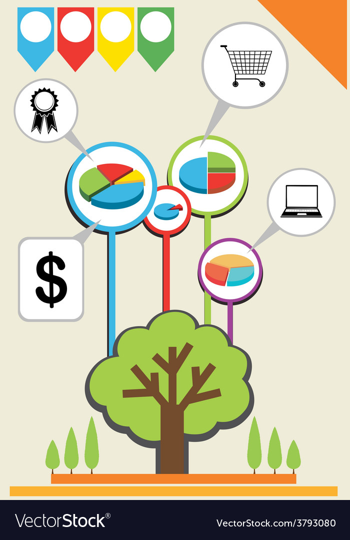An infographics showing a tree vector | Price: 1 Credit (USD $1)