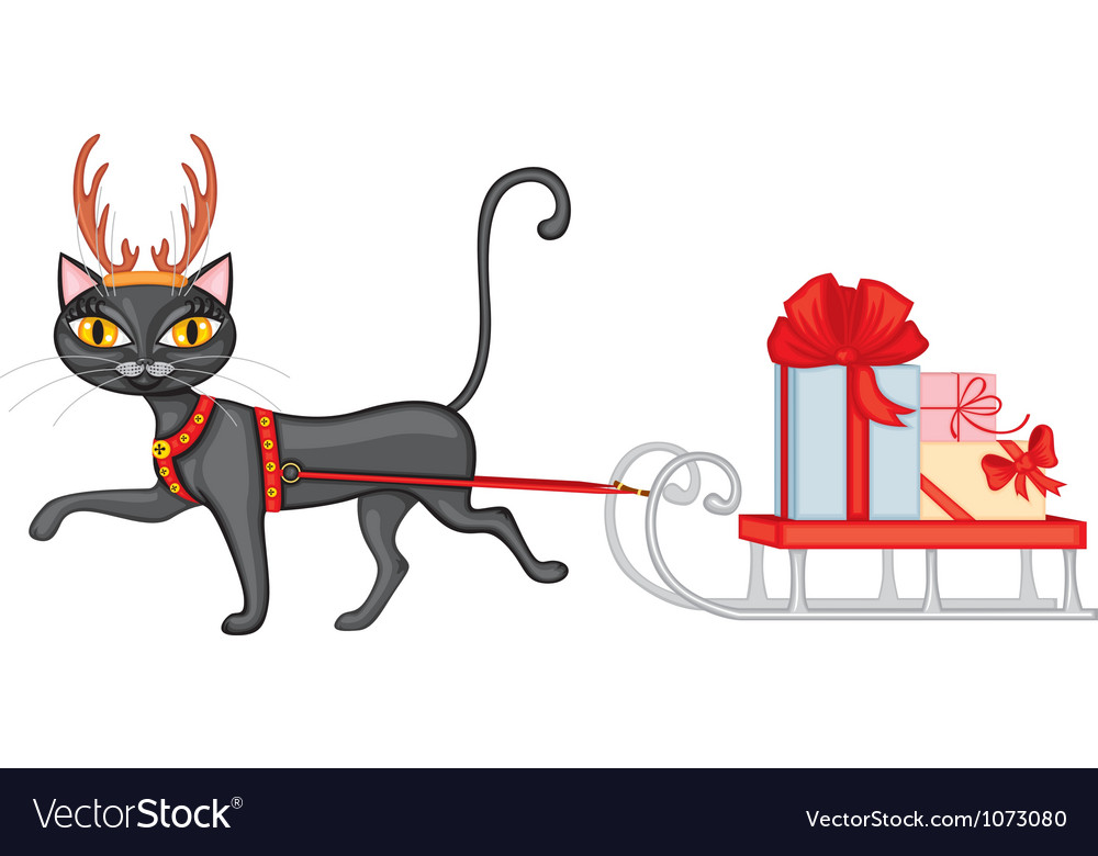 Cat brings gifts on sledge vector | Price: 1 Credit (USD $1)