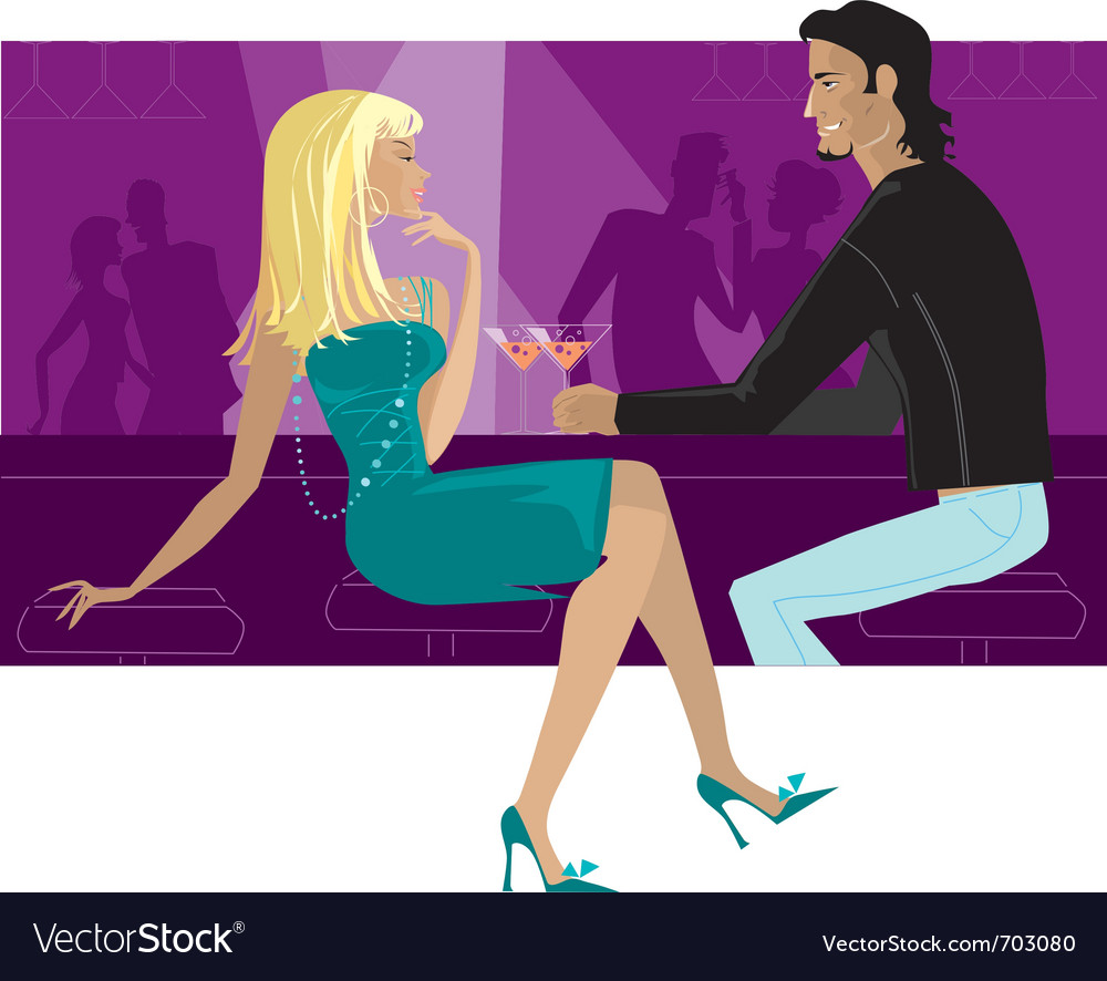 Couple in the bar vector | Price: 5 Credit (USD $5)