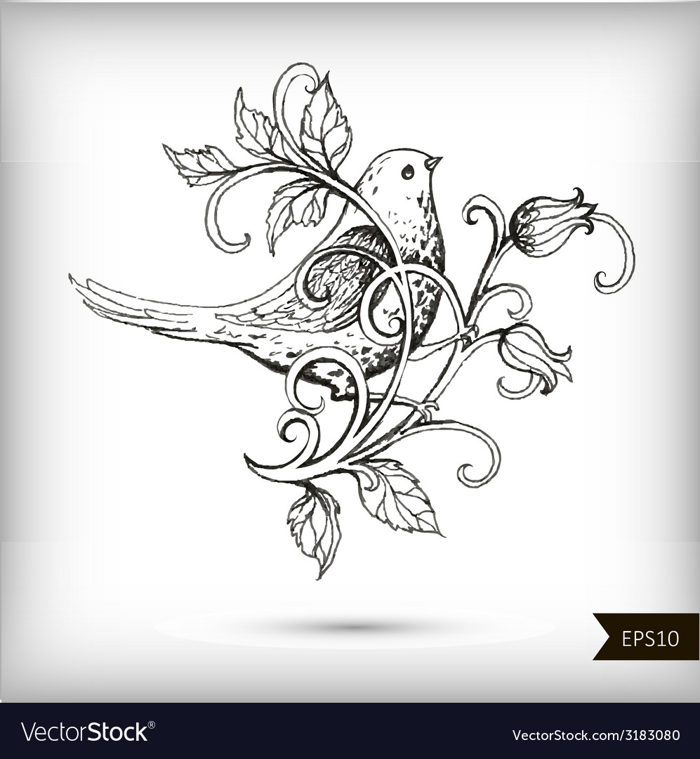 Hand drawn bird with flowers vector | Price: 1 Credit (USD $1)