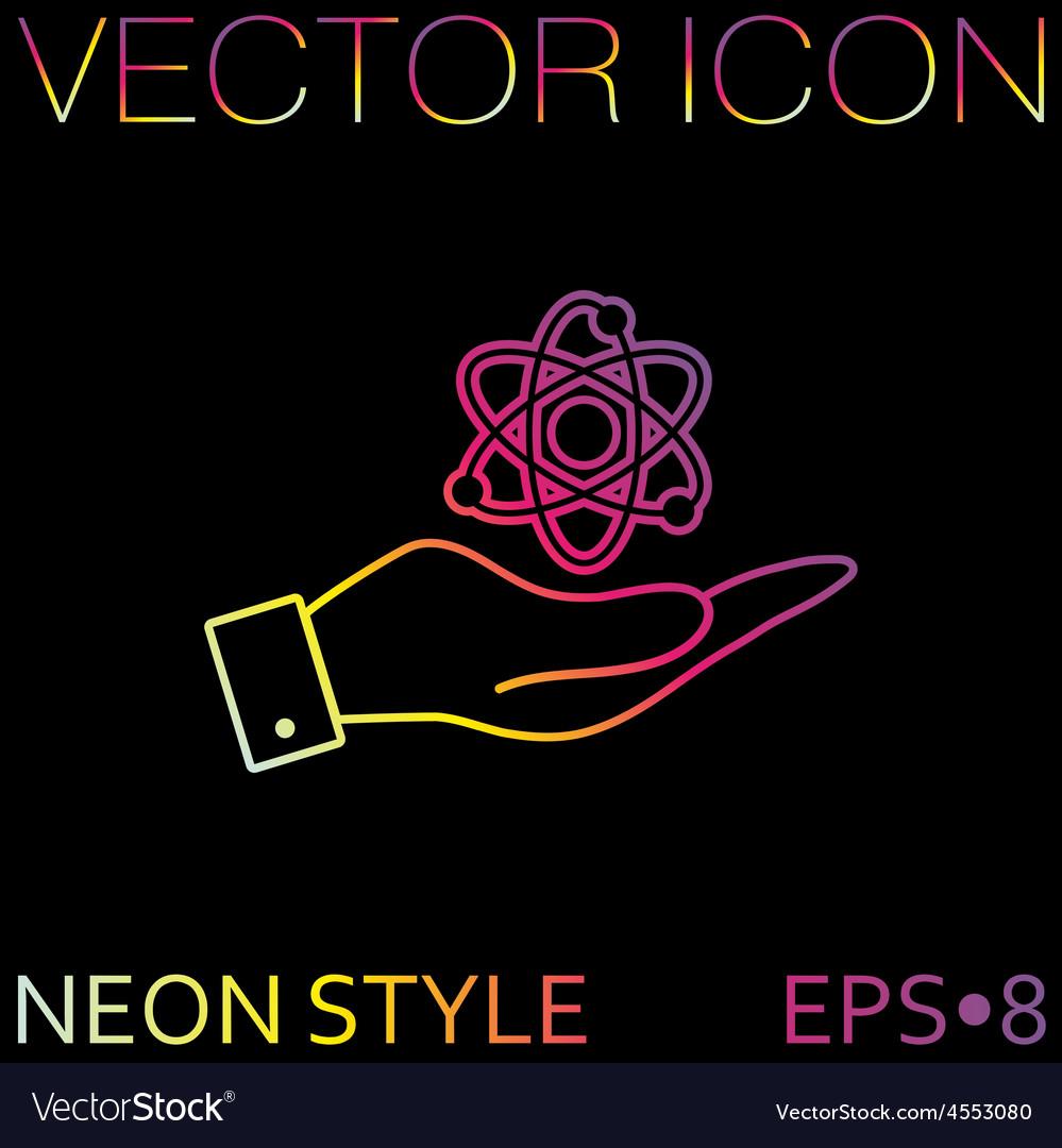 Hand holding the atom molecule vector | Price: 1 Credit (USD $1)