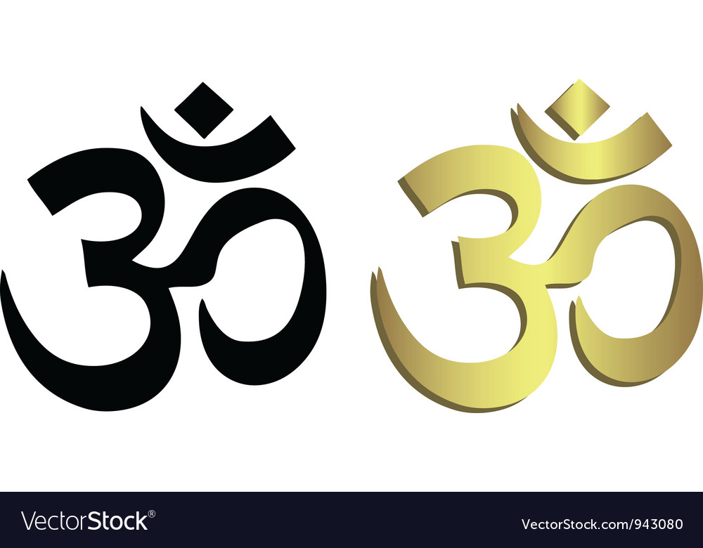 Om symbol in black and gold vector | Price: 1 Credit (USD $1)